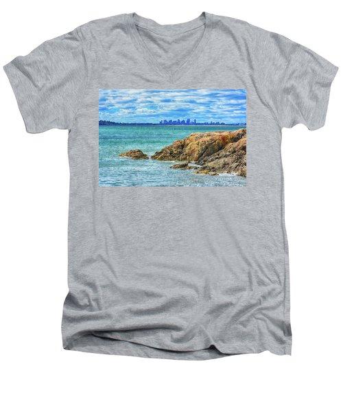 Cloudy Boston Men's V-Neck T-Shirt
