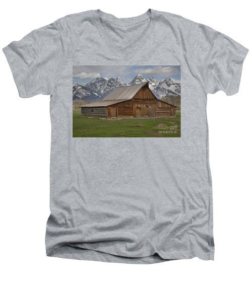 Cloudy Day At The Moulton Barn Men's V-Neck T-Shirt by Adam Jewell