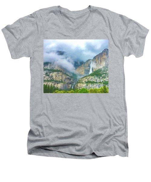 Cloudy Day At Yosemite Falls Digital Watercolor Men's V-Neck T-Shirt