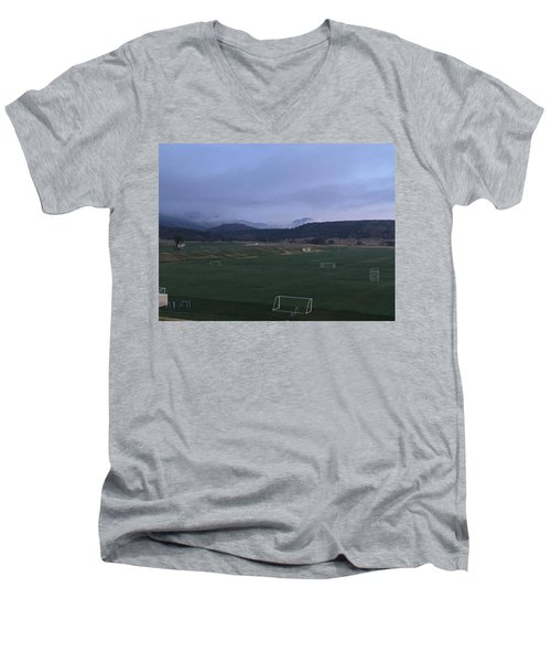 Men's V-Neck T-Shirt featuring the photograph Cloudy Morning At The Field by Christin Brodie