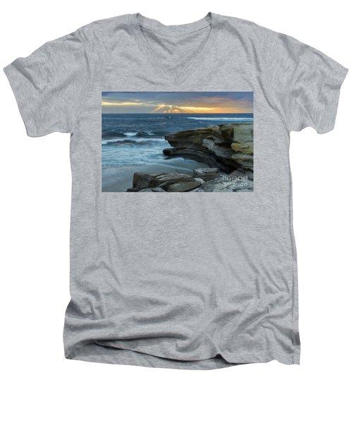 Cloudy Sunset At La Jolla Shores Beach Men's V-Neck T-Shirt
