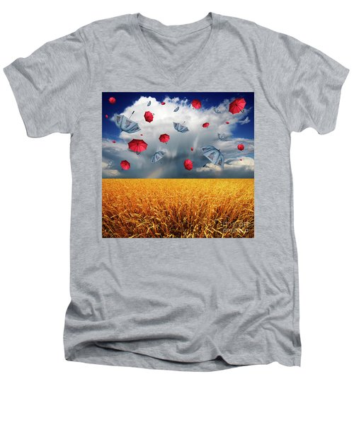 Cloudy With A Chance Of Umbrellas Men's V-Neck T-Shirt