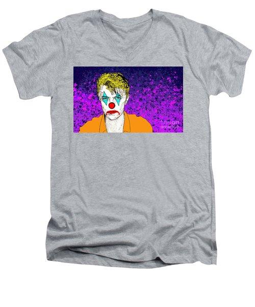 Men's V-Neck T-Shirt featuring the drawing Clown David Bowie by Jason Tricktop Matthews