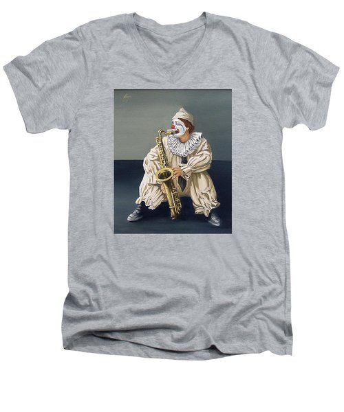 Men's V-Neck T-Shirt featuring the painting Clown by Natalia Tejera