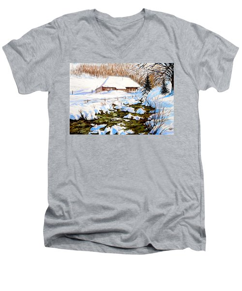 Men's V-Neck T-Shirt featuring the painting Clubhouse In Winter by Sher Nasser