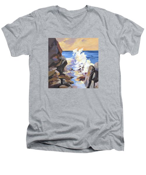 Men's V-Neck T-Shirt featuring the painting Coastal Edge by Rae Andrews