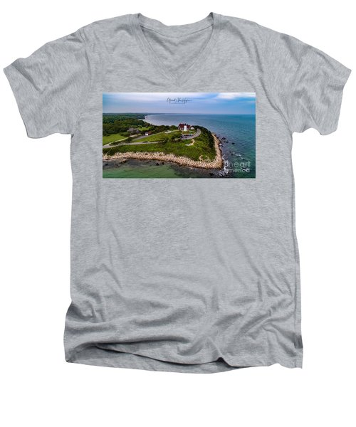 Coastal Nobska Point Lighthouse Men's V-Neck T-Shirt