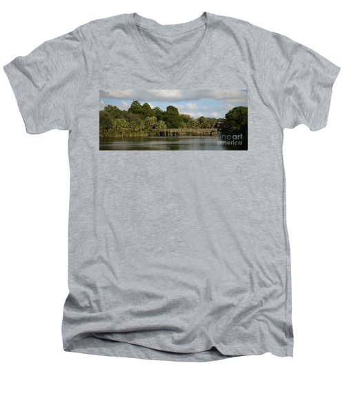 Men's V-Neck T-Shirt featuring the photograph Coastal Serenity by Pamela Blizzard