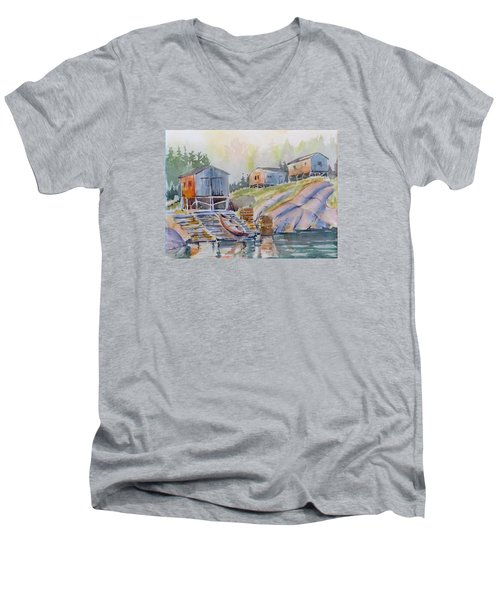 Coastal Village - Newfoundland Men's V-Neck T-Shirt by David Gilmore