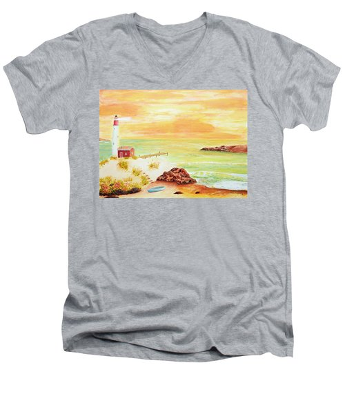 Coastline Lighthouse Men's V-Neck T-Shirt