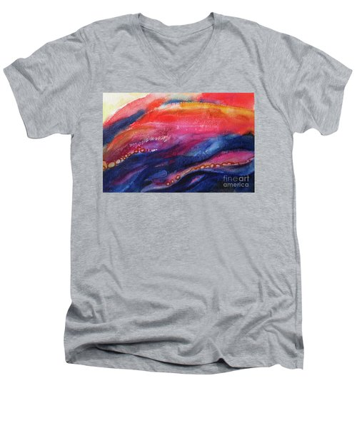 Men's V-Neck T-Shirt featuring the painting Coatings And Deposits Of Color by Kathy Braud