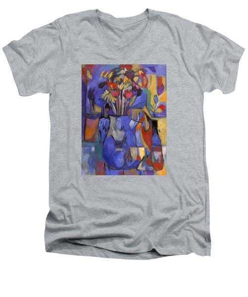 Cobalt Rose Men's V-Neck T-Shirt