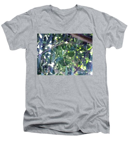Men's V-Neck T-Shirt featuring the photograph Cobweb Tree by Megan Dirsa-DuBois