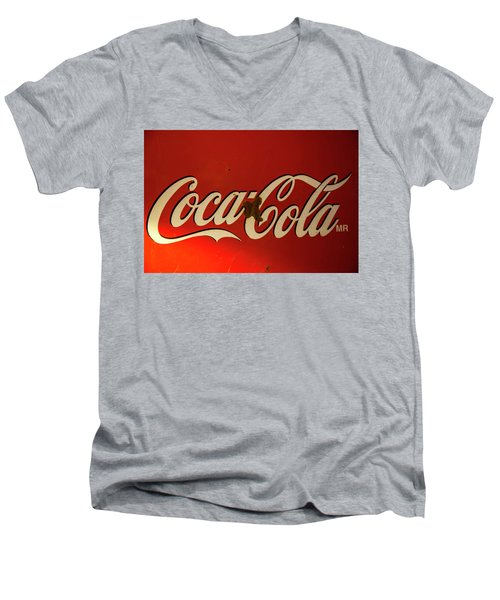 Coca-cola Sign  Men's V-Neck T-Shirt by Toni Hopper