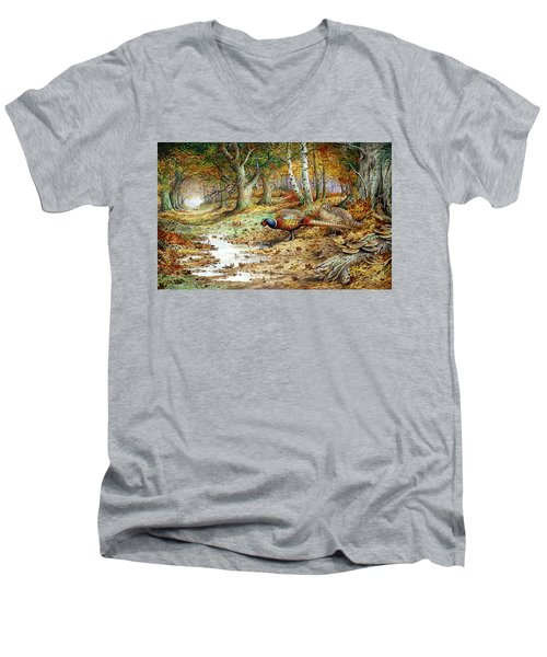 Cock Pheasant And Sulphur Tuft Fungi Men's V-Neck T-Shirt