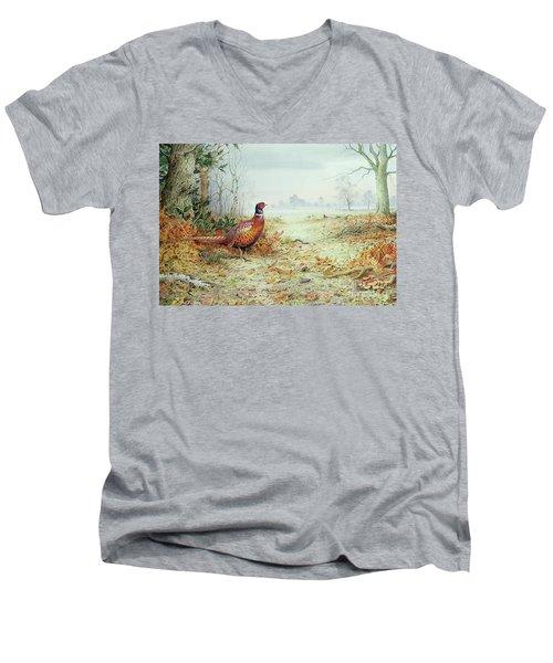 Cock Pheasant  Men's V-Neck T-Shirt by Carl Donner