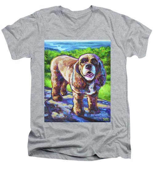 Men's V-Neck T-Shirt featuring the painting Cocker Spaniel  by Robert Phelps