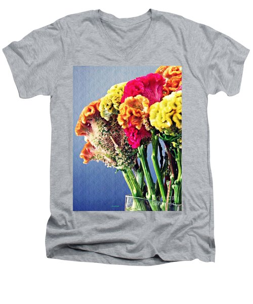 Men's V-Neck T-Shirt featuring the photograph Cockscomb Bouquet 2 by Sarah Loft