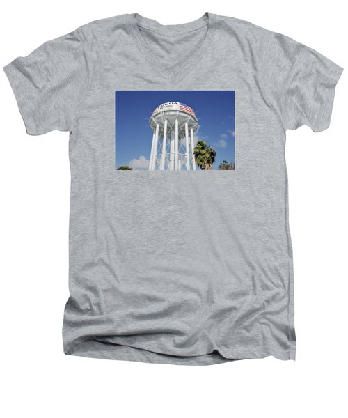 Cocoa Water Tower With American Flag Men's V-Neck T-Shirt by Bradford Martin