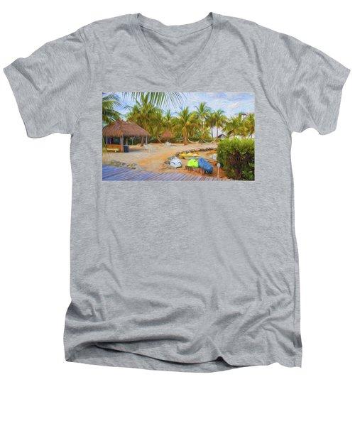 Coconut Palms Inn Beach Men's V-Neck T-Shirt