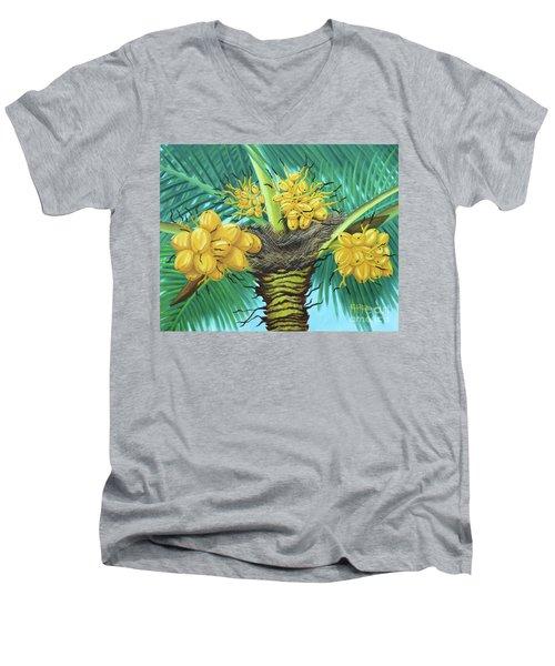 Coconut Palms Men's V-Neck T-Shirt by Val Miller