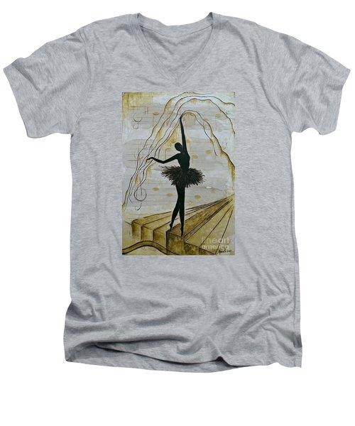 Coffee Ballerina Men's V-Neck T-Shirt by AmaS Art
