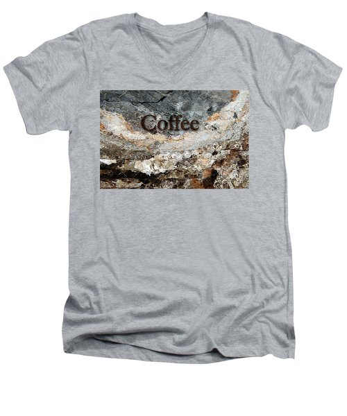 Coffee Edit 2 Brown Letters Men's V-Neck T-Shirt by Margie Chapman