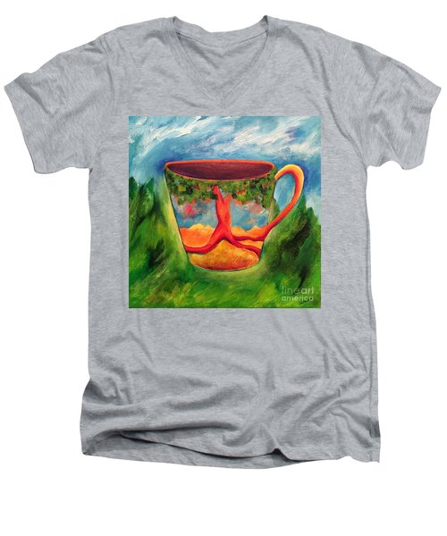 Coffee In The Park Men's V-Neck T-Shirt by Elizabeth Fontaine-Barr