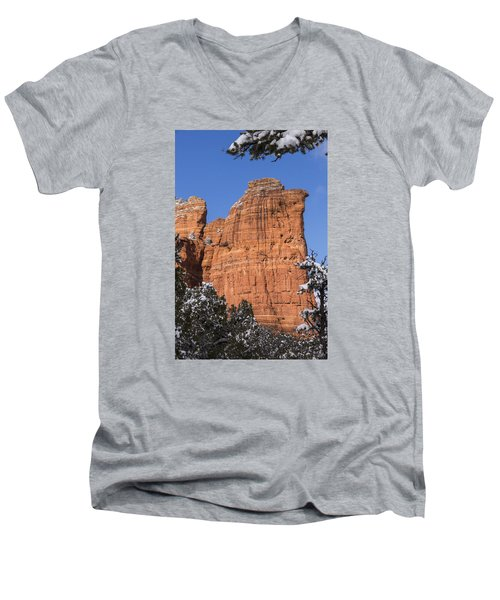 Men's V-Neck T-Shirt featuring the photograph Coffee Pot Rock by Laura Pratt