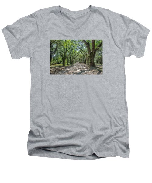 Coffin Point Roadway Men's V-Neck T-Shirt by Patricia Schaefer