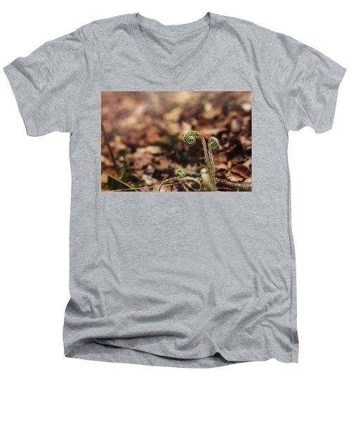 Coiled Fern Among Leaves On Forest Floor Men's V-Neck T-Shirt