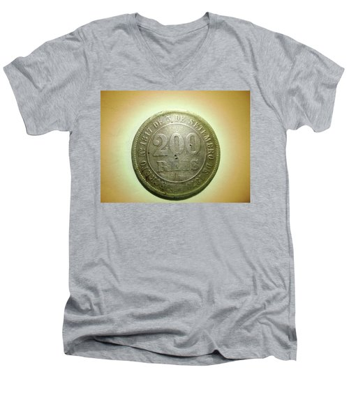 Men's V-Neck T-Shirt featuring the photograph Coin Series - Brazil by Beto Machado