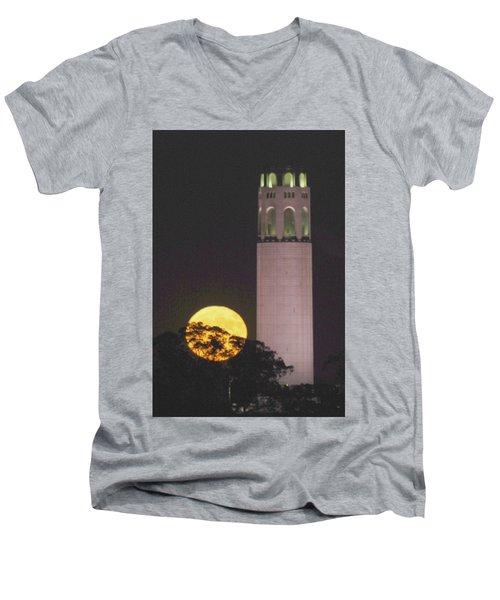 Coit Tower And Harvest Moon Men's V-Neck T-Shirt