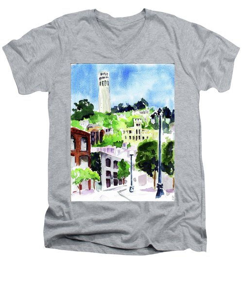 Coit Tower From The Embarcadero Men's V-Neck T-Shirt by Tom Simmons