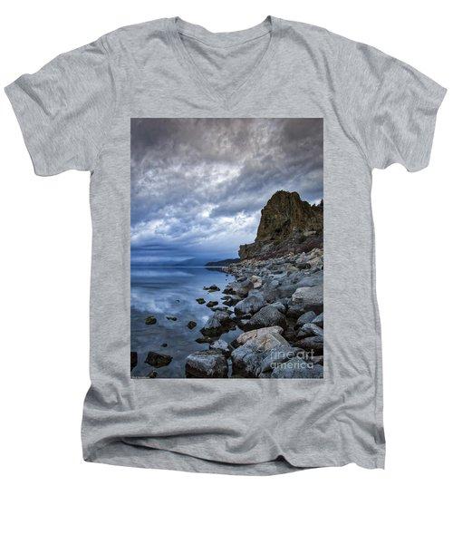 Cold Blue Cave Rock Men's V-Neck T-Shirt