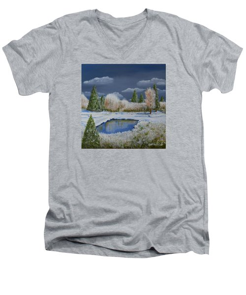 Men's V-Neck T-Shirt featuring the painting Cold Sky 1 by Melvin Turner