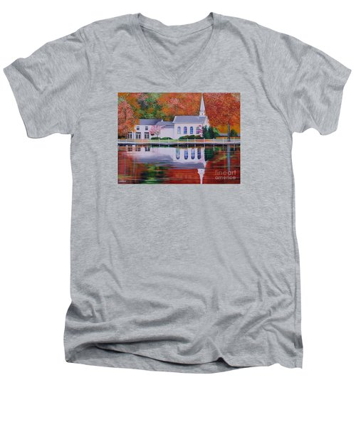 Men's V-Neck T-Shirt featuring the painting Cold Spring Harbor St Johns Church by Nereida Rodriguez