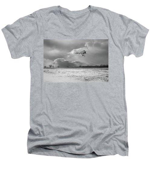 Men's V-Neck T-Shirt featuring the photograph Cold War Warrior Bw Version by Gary Eason