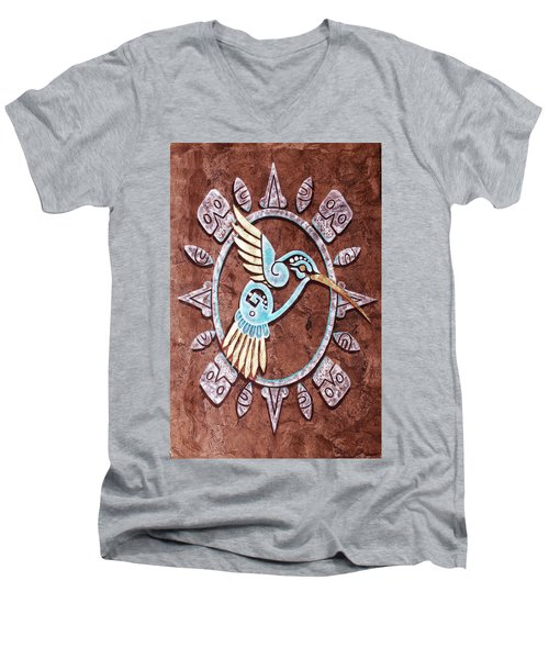 Men's V-Neck T-Shirt featuring the painting Colibri by J- J- Espinoza
