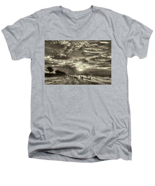 Collecting Seashells On Sanibel Island Men's V-Neck T-Shirt