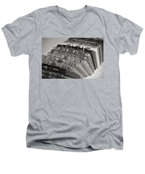 Collection Of Audio Cassettes With Domino Effect Men's V-Neck T-Shirt