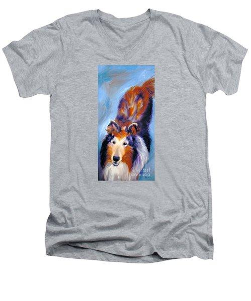 Collie Sable Rough 1 Men's V-Neck T-Shirt