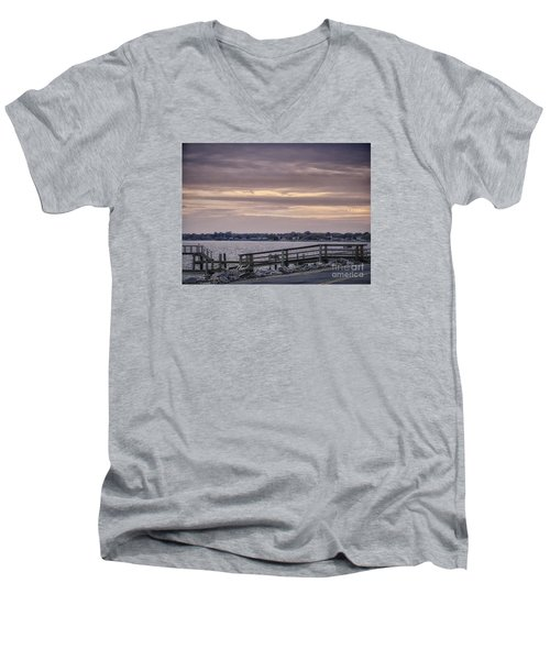 Men's V-Neck T-Shirt featuring the photograph Colonial Beach Virginia Waterfront   by Melissa Messick