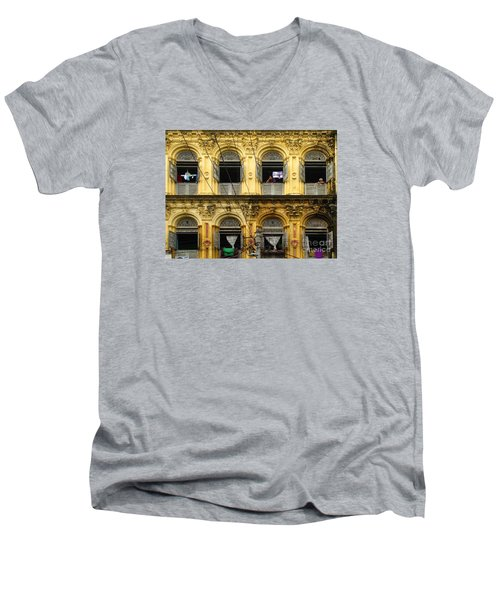 Colonial Facade Bo Soon Pat Street 8th Ward Central Yangon Burma Men's V-Neck T-Shirt by Ralph A  Ledergerber-Photography