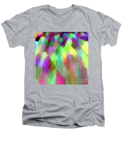 Color Abstract Men's V-Neck T-Shirt by Wernher Krutein