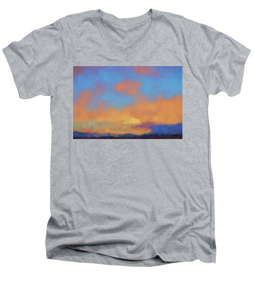 Men's V-Neck T-Shirt featuring the digital art Color Abstraction Lvii by David Gordon