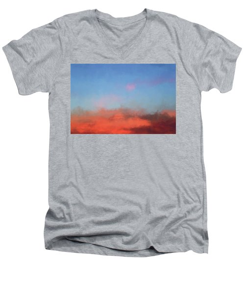 Color Abstraction Xlvii - Sunset Men's V-Neck T-Shirt by David Gordon
