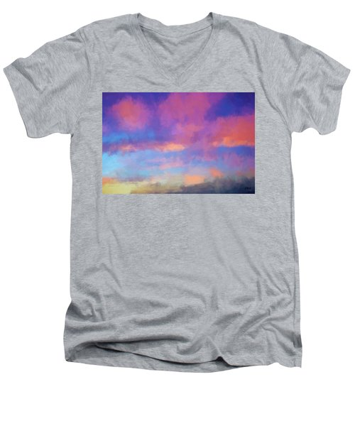 Color Abstraction Xlviii - Sunset Men's V-Neck T-Shirt by Dave Gordon