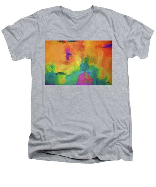 Color Abstraction Xxxiv Men's V-Neck T-Shirt by David Gordon