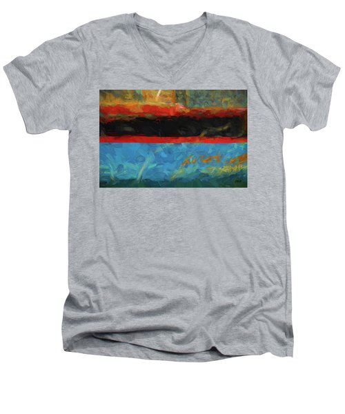 Color Abstraction Xxxix Men's V-Neck T-Shirt by David Gordon